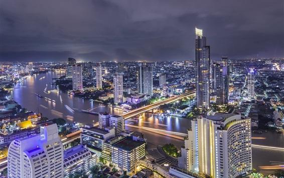 Wallpaper Thailand, Bangkok, beautiful city night, river, bridge, lights, skyscrapers