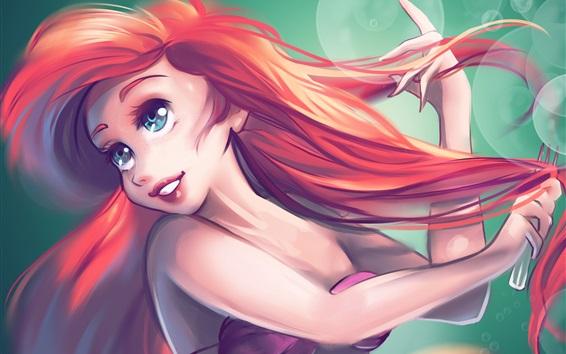 Wallpaper The Little Mermaid, red hair, blue eyes