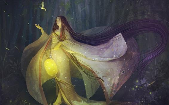 Fondos de pantalla El cuento de la princesa Kaguya, noche, lámpara, pájaro