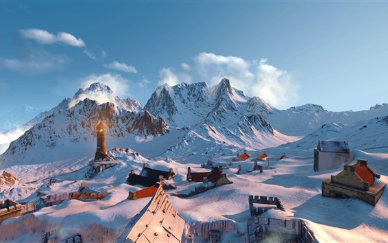 Wallpaper The Witcher 3: Wild Hunt, mountains, snow, houses