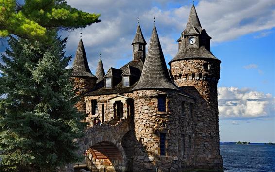 Wallpaper Thousand Islands, Boldt Castle, trees, sea, USA