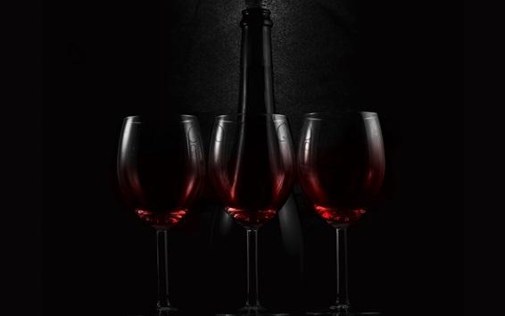 Wallpaper Three glass cups of wine, bottle, darkness