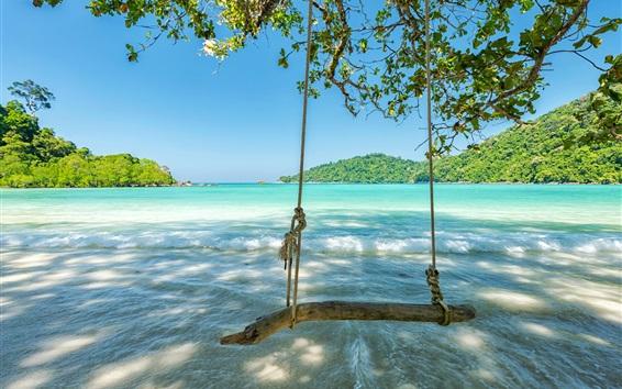 Wallpaper Tropic, sea, waves, swing, trees