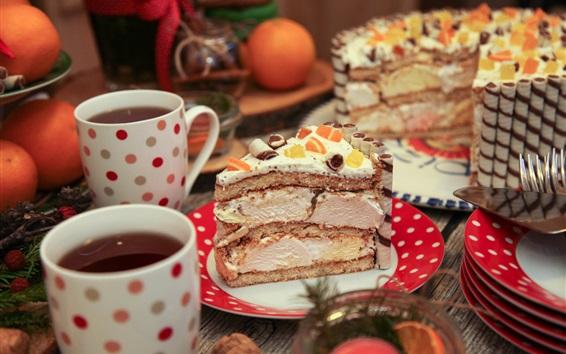 Обои Чай из двух чашек, один кусок торта