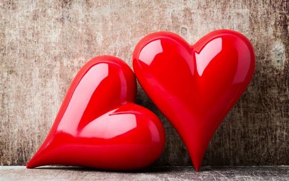 Fondos de pantalla Dos corazones de amor rojo, romántico, pared 2560x1600  HD Imagen