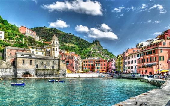 Wallpaper Vernazza, Italy, port, boats, city