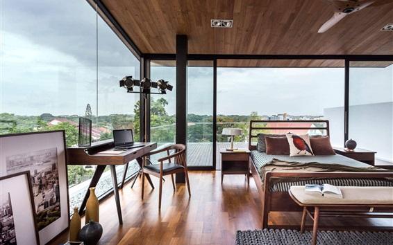 Wallpaper Villa, bedroom, windows, bright