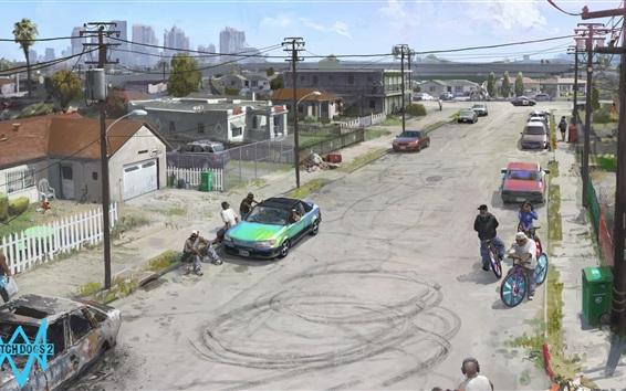 Wallpaper Watch Dogs 2, Ubisoft, street, city, art picture