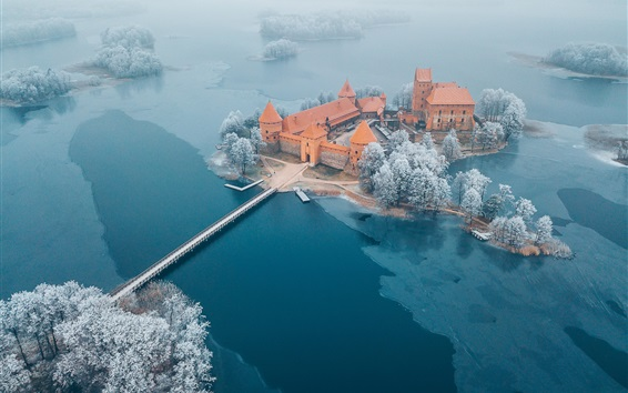 Wallpaper Water Castle, Lithuania, Trakai, trees, lake, winter