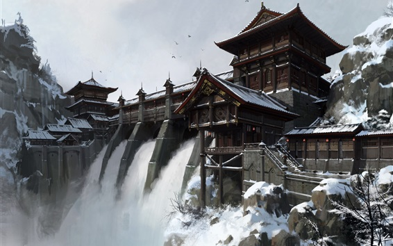 Wallpaper Waterfall, dam, China, art painting