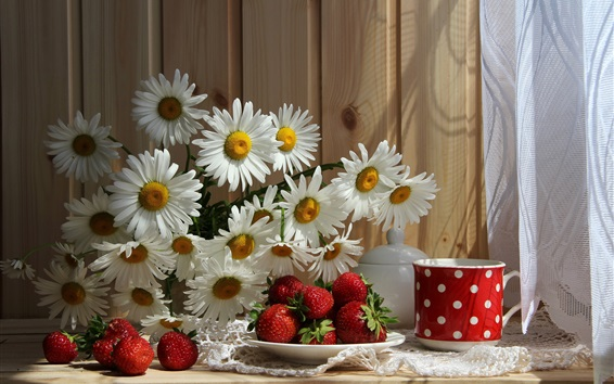 Wallpaper White chamomile, strawberry, cup, tablecloth
