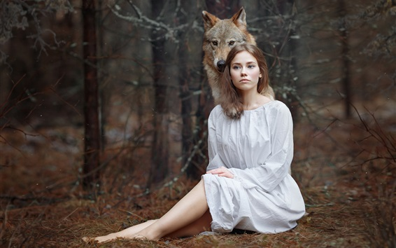 Wallpaper White clothes girl and wolf