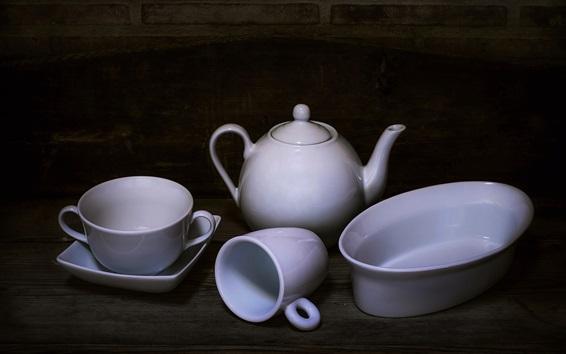 Wallpaper White cups, kettle, still life