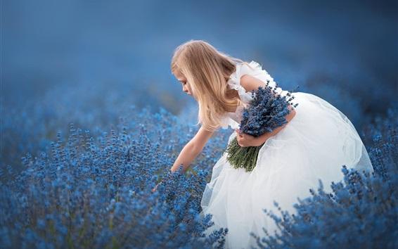Papéis de Parede Saia branca menina, flores de lavanda azul