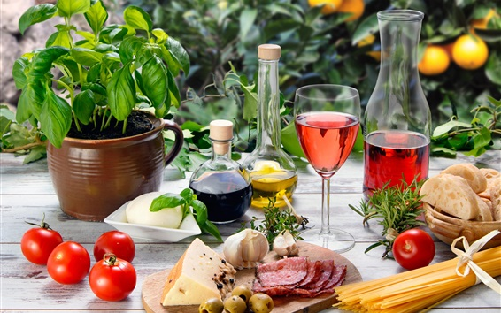 Wallpaper Wine, bottles, bread, tomatoes, oil