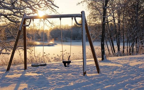 Fond d'écran Hiver, neige, balançoire, soleil, matin