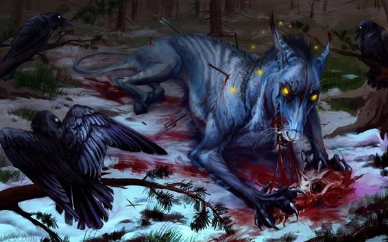 Fond d'écran Loup et corbeau, sang, peinture d'art