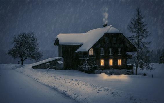 Wallpaper Wood house, lights, snow, winter, night