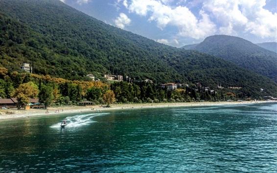 Wallpaper Abkhazia, Gagra, sea, beach, boats, mountains, forest