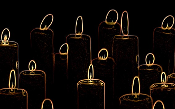Wallpaper Abstract candles, flame, black background