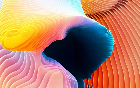 Wallpaper Abstract picture, curves, orange and blue