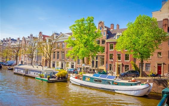 Fondos de pantalla Amsterdam, Países Bajos, barcos, río, ciudad, casas
