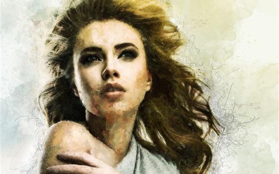 Wallpaper Art drawing, girl, face, hair