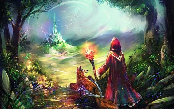 Wallpaper Art painting, fantasy world, castle, fox, wings, fire, people