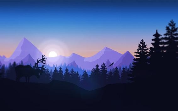 Papéis de Parede Imagens de arte, montanhas, árvores, sol, veado