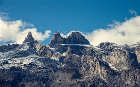 壁紙 オーストリア、アルプス、山、雲、空
