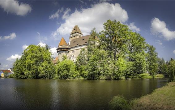 Papéis de Parede Áustria, castelo, heidenreichstein, árvores, lagoa