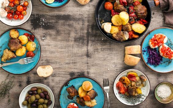 Wallpaper BBQ, tomatoes, potatoes, meat, grill food