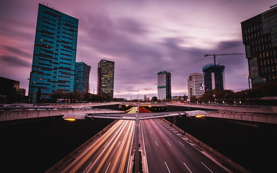 Papéis de Parede Barcelona, espanha, estrada, edifícios, cidade, luzes, anoitecer
