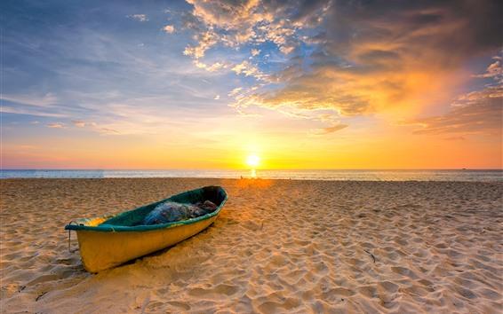 Wallpaper Beach, sands, boat, sea, sunset