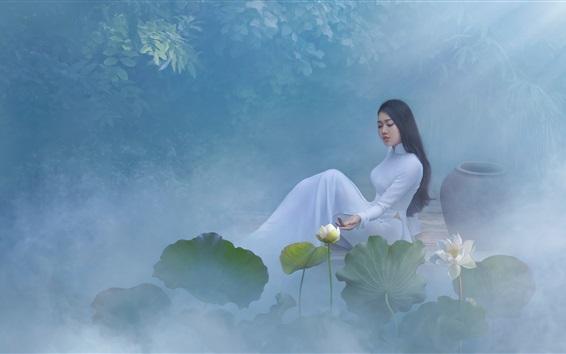 Обои Красивая китайская девушка, белая юбка, лотос, туман, утро