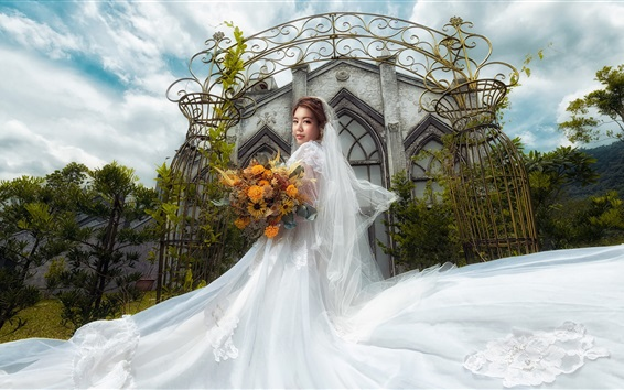 Wallpaper Beautiful bride, Asian girl, white skirt, church