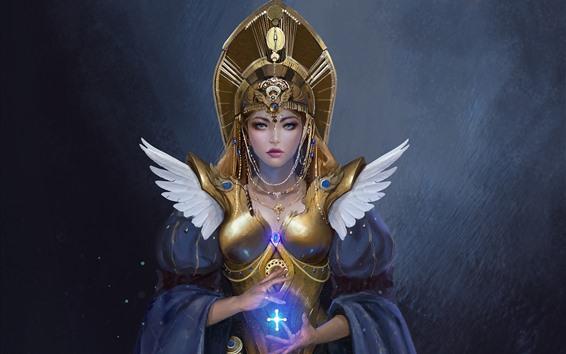 Wallpaper Beautiful fantasy girl, armor, magic