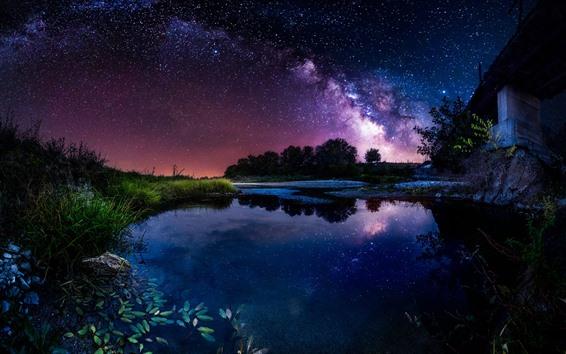 Fondos de pantalla Hermosa noche, estanque, casa, estrellado, cielo, estrellas