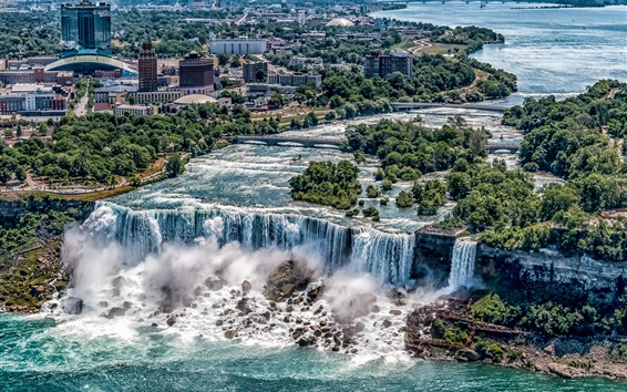 Wallpaper Beautiful waterfalls, Niagara Falls, New York, USA