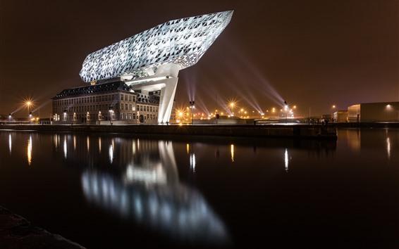 壁紙 ベルギー、アントワープ、都市、夜、イルミネーション