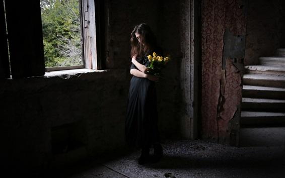 Wallpaper Black skirt girl, house, yellow roses, window