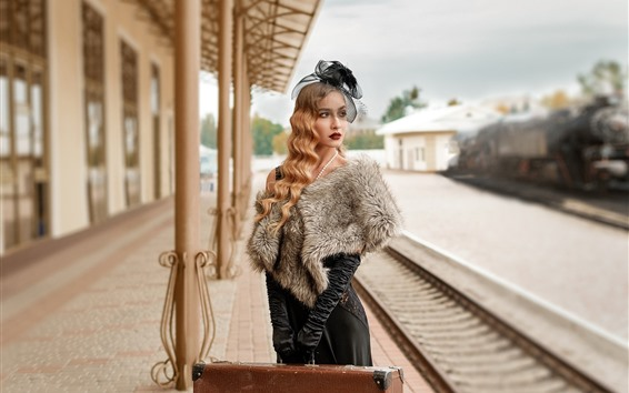 Wallpaper Blonde girl, curls, suitcase, rail station