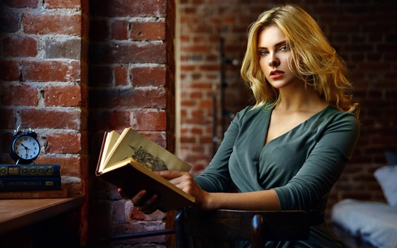 Wallpaper Blonde girl reading book, bricks wall