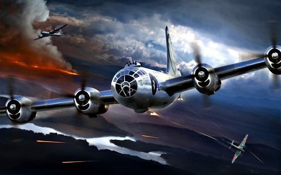 Обои Боинг В-29 Суперфортресс, атака, война