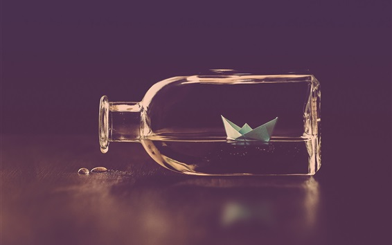 Wallpaper Bottle, paper boat, water