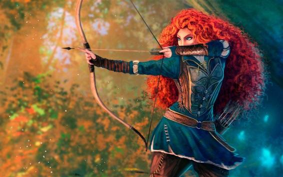Обои Храбрый, принцесса, рыжие волосы, лук, мультфильм Диснея