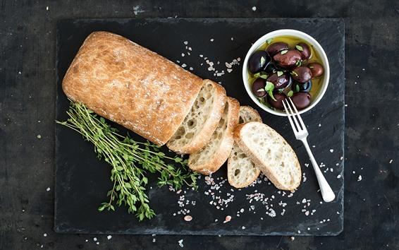 배경 화면 빵, 올리브, 음식