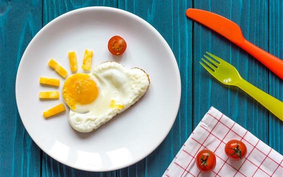 Papéis de Parede Café da manhã, ovo, tomate, garfo, faca