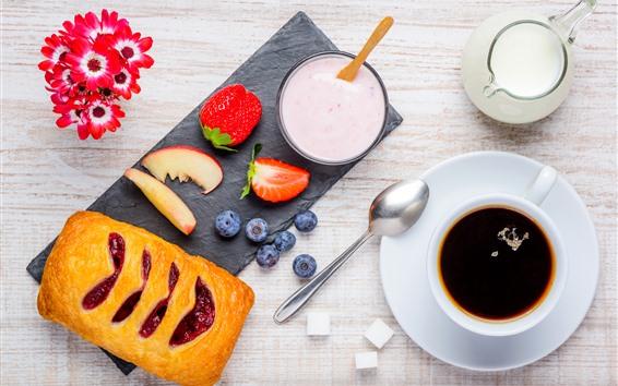 Papéis de Parede Café da manhã, leite, pão, café, flores, morango, mirtilo