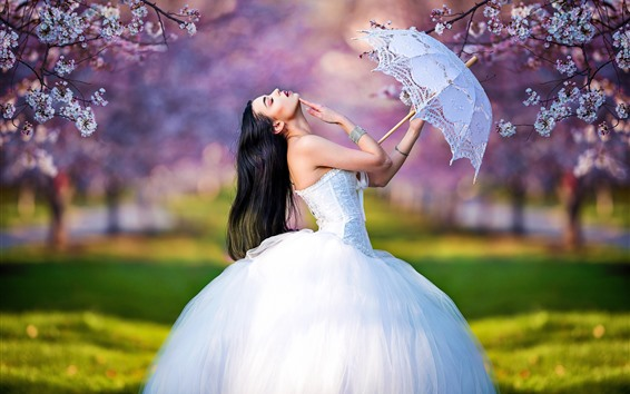 Wallpaper Bride, wedding dress, girl, umbrella, pose